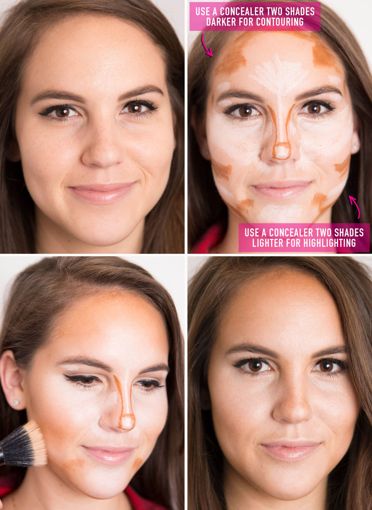Amp up your going-out makeup by contouring and highlighting your facial features with two concealers: one two shades darker than your skin tone and one two shades lighter.