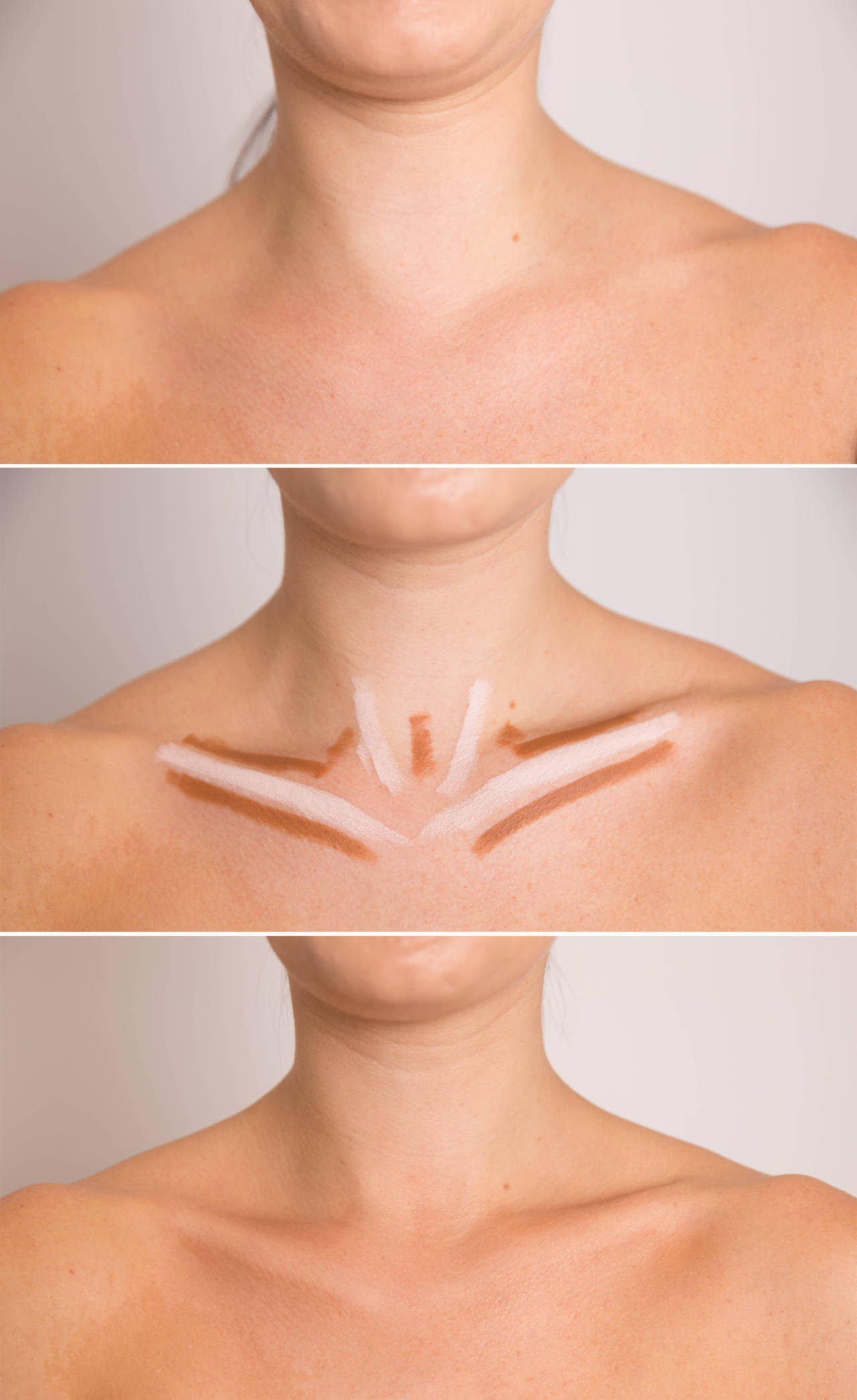 Intensify your collarbone for a sexy nighttime look by shrugging your shoulders up, tracing the natural contours with a concealer two shades darker than your skin tone, and then highlighting them with concealer two shades lighter.