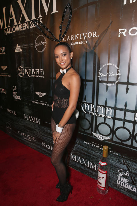 Karrueche Tran attends the Maxim Halloween party on October 24, 2015.