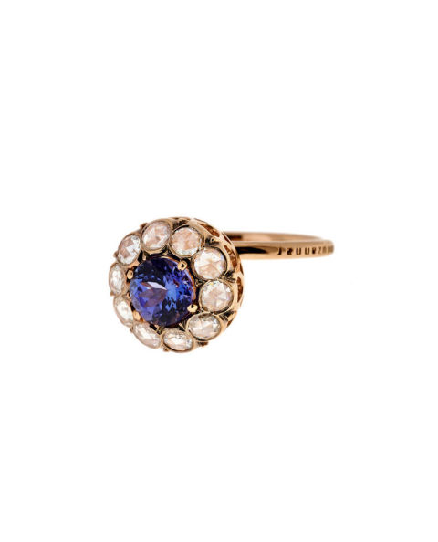selim mouzannar large diamond and tanzanite ring