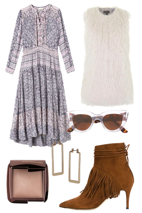 Fringe rears its pretty head again, this time on brown booties. Top 'em with a touchable vest, a flowy print dress, and a bold pair of sunnies. Which way to the outdoor concert?
