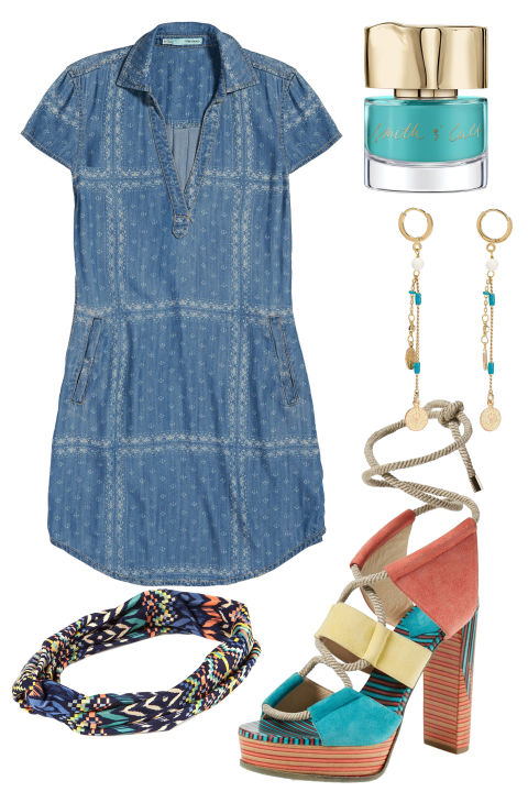 Behold, the perfect little flirty look for a music festival, date night, or night of rooftop drankin'. The key pieces? A short denim dress (if you really want to show some skin, go for a deep neckline), eye-catching dangle earrings, and bold platform shoes.