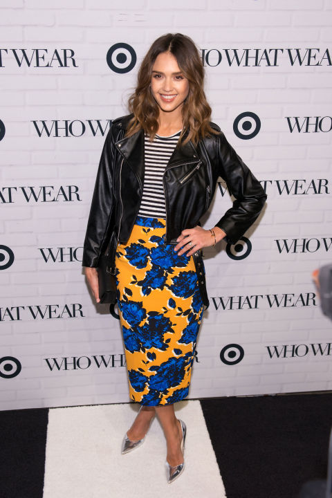 Jessica Alba rocks a multi-patterned look, a leather jacket, and metallic heals at the Target x Who What Wear launch party Wednesday evening.