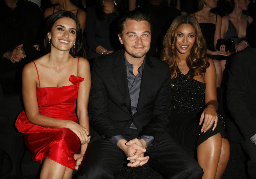 Leonardo DiCaprio keeps his cool alongside Beyoncé and Penelope Cruz at Giorgio Armani Privé's L.A. fashion show.