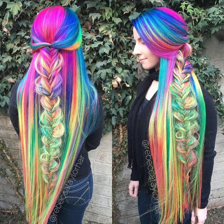 this woman's super long rainbow hair is seriously magical