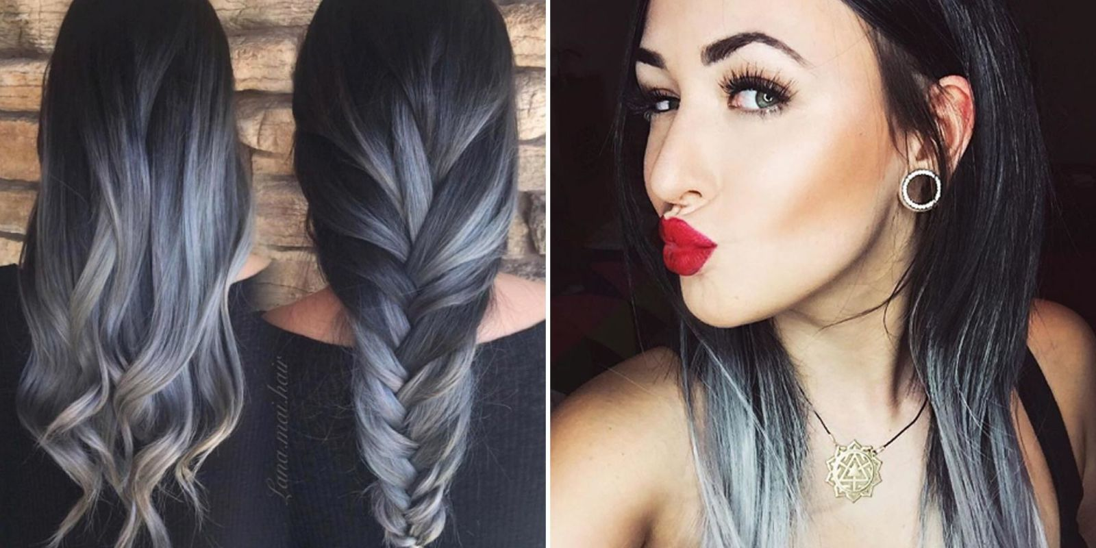2018 Hairstyle For Dark Hair Color: Gray Ombré Hair Trend For Fall 2016
