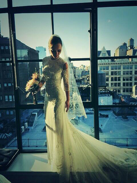 Christina Ricci/Twitter | celebrity wedding gowns