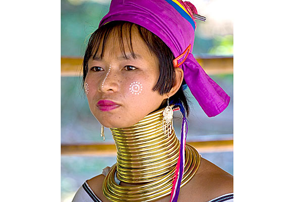 Women of the Kayan tribe in Thailand start wearing brass rings around their necks when they're just five years old, adding more rings as they grow older to elongate their necks. A super-long neck is considered beautiful and elegant in this region and women can wear over 20 pounds of rings as adults.