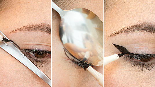 Winged eyeliner with spoon