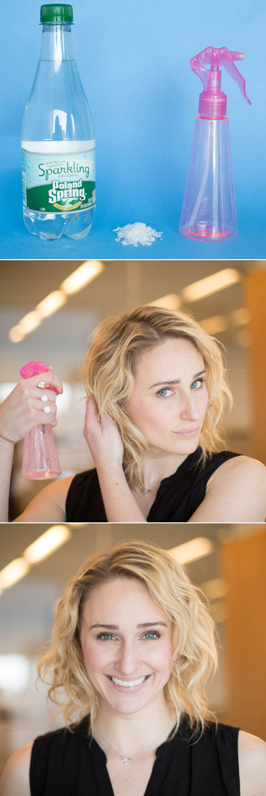 Make your own salt spray with seltzer water and a teaspoon of sea salt to give your short hair beachy texture.