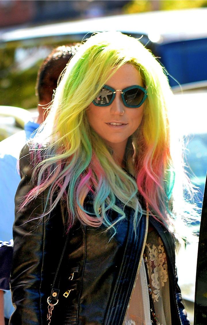 kesha new hair color keha rainbow colored hair