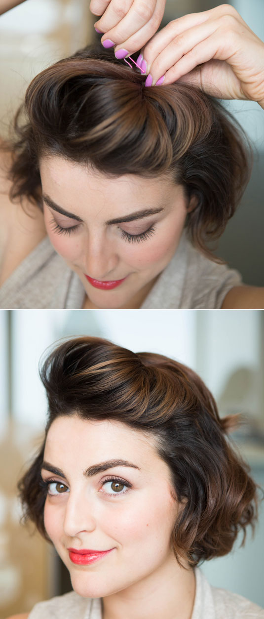 Create a pompadour by teasing a section of hair from temple to temple, and then pushing it against where you normally part your hair to increase lift.