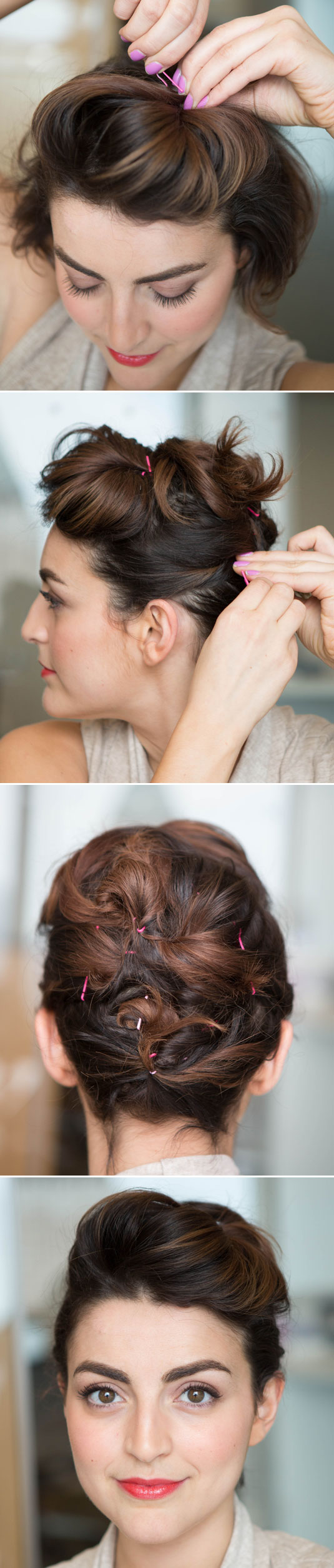 Whip up an updo on super-short hair by creating a pompadour, and then twist and pin your loose hairs haphazardly.
