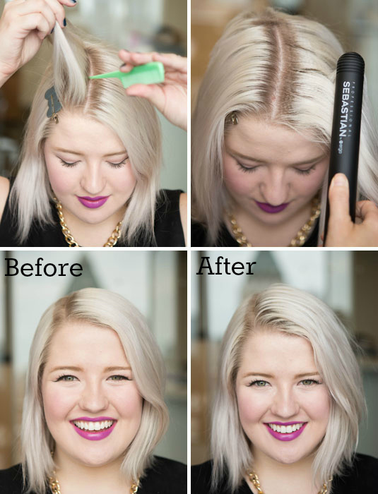 Boost volume by parting your hair and crimping the layers of hair underneath.