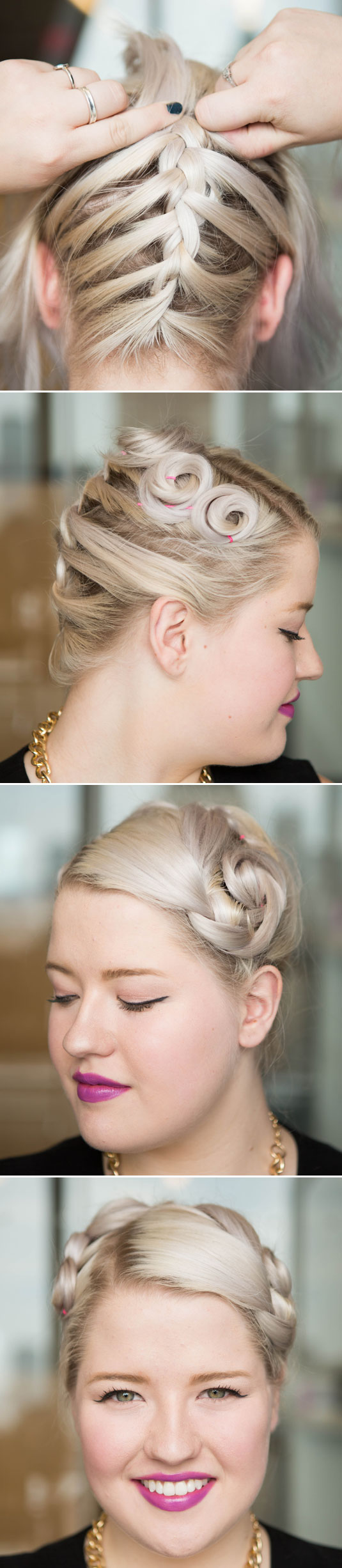 Braid your hair from back to front, since any layered shorter pieces in the front might be hard to weave into a plait.